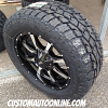 20x9 Moto Metal 970 black and machined wheel - LT295/55r20 Toyo Open Country AT2