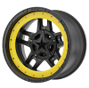 XD Rockstar III 827 matte black wheel with yellow bead lock ring - Rockstar 3