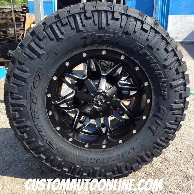 17x9 Fuel Lethal D567 black and milled wheel - LT295/70r17 Nitto Trail Grappler MT tire