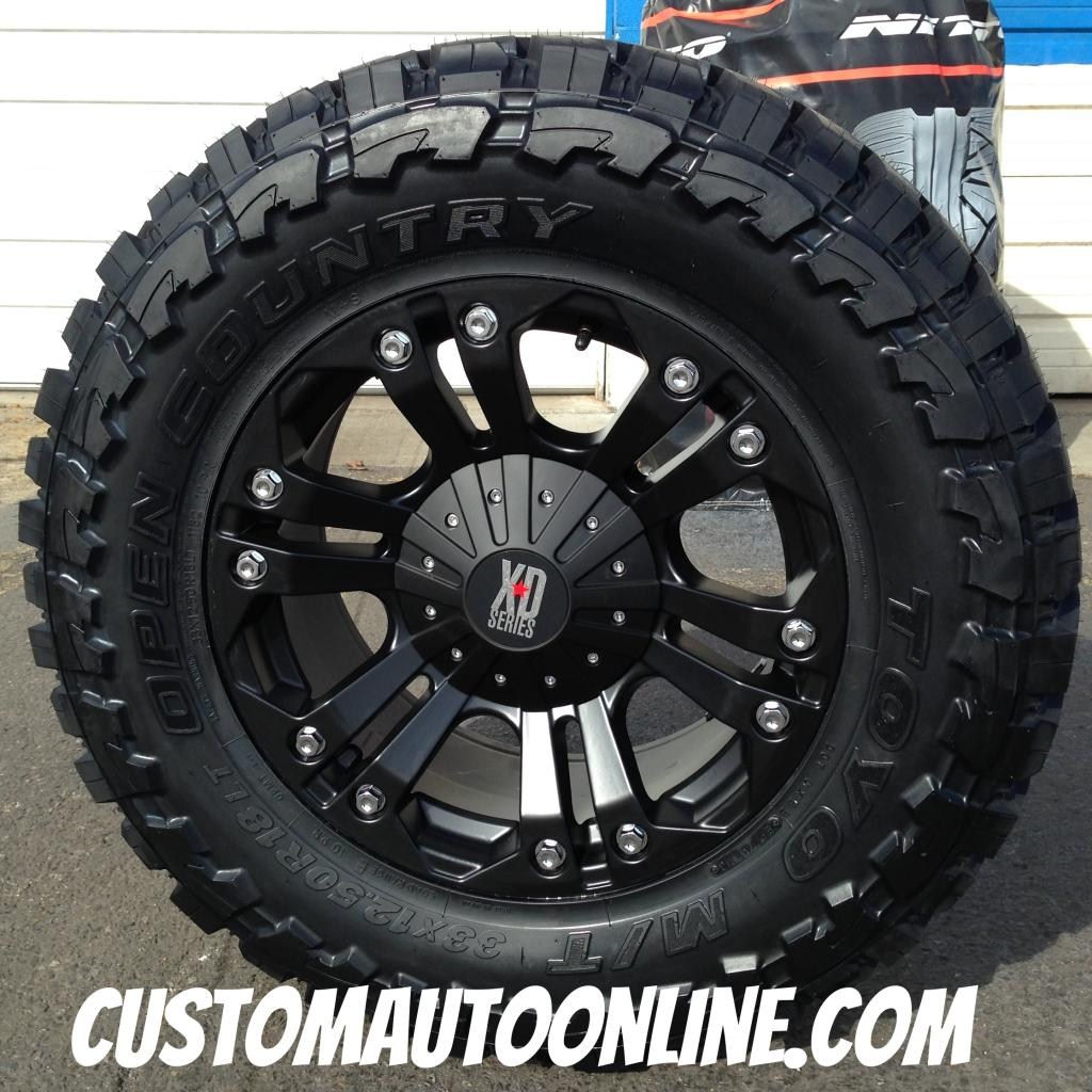 18x9 KMC XD 778 Black wheel - 33x12.50r18 Toyo Open Country MT tire