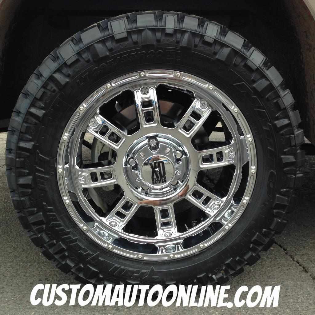 20x9 KMC XD Series Riot 809 Chrome wheel - LT295/55r20 Nitto Trail Grappler  tire
