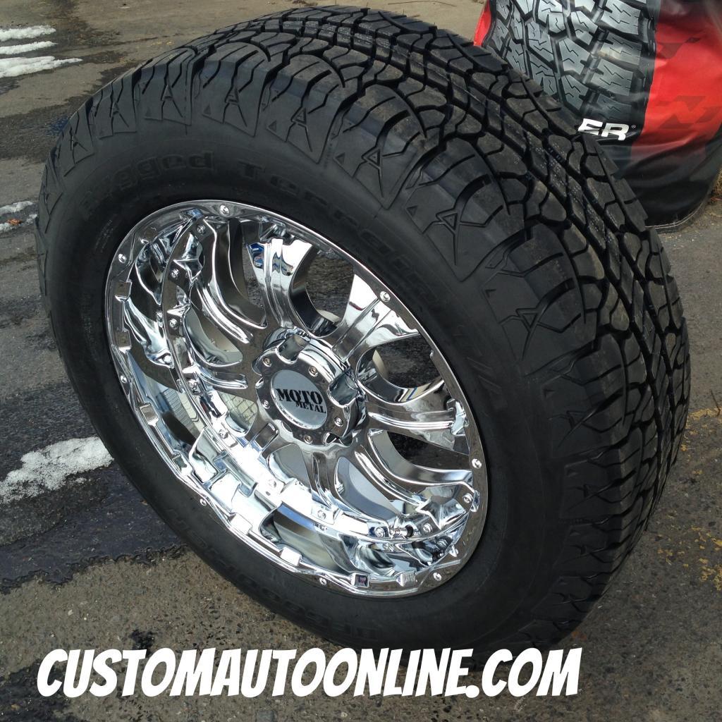 20x9 Moto Metal 959 Chrome Wheel 275 60r20 Bfgoodrich Rugged Terrain Tires