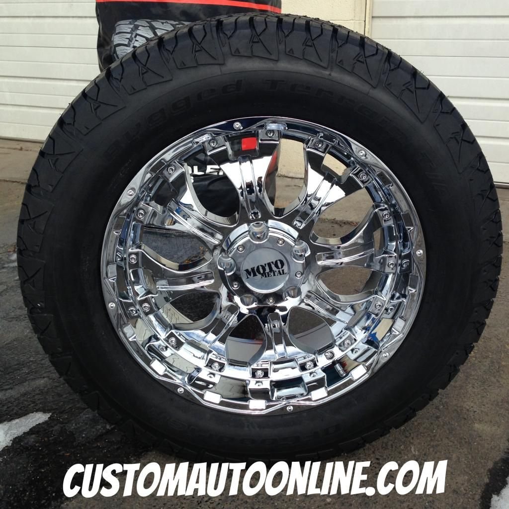 Custom Automotive Packages Off Road Packages 20x9 Moto Metal 959 Chrome 275 60r20 Bfgoodrich Rugged Terrain