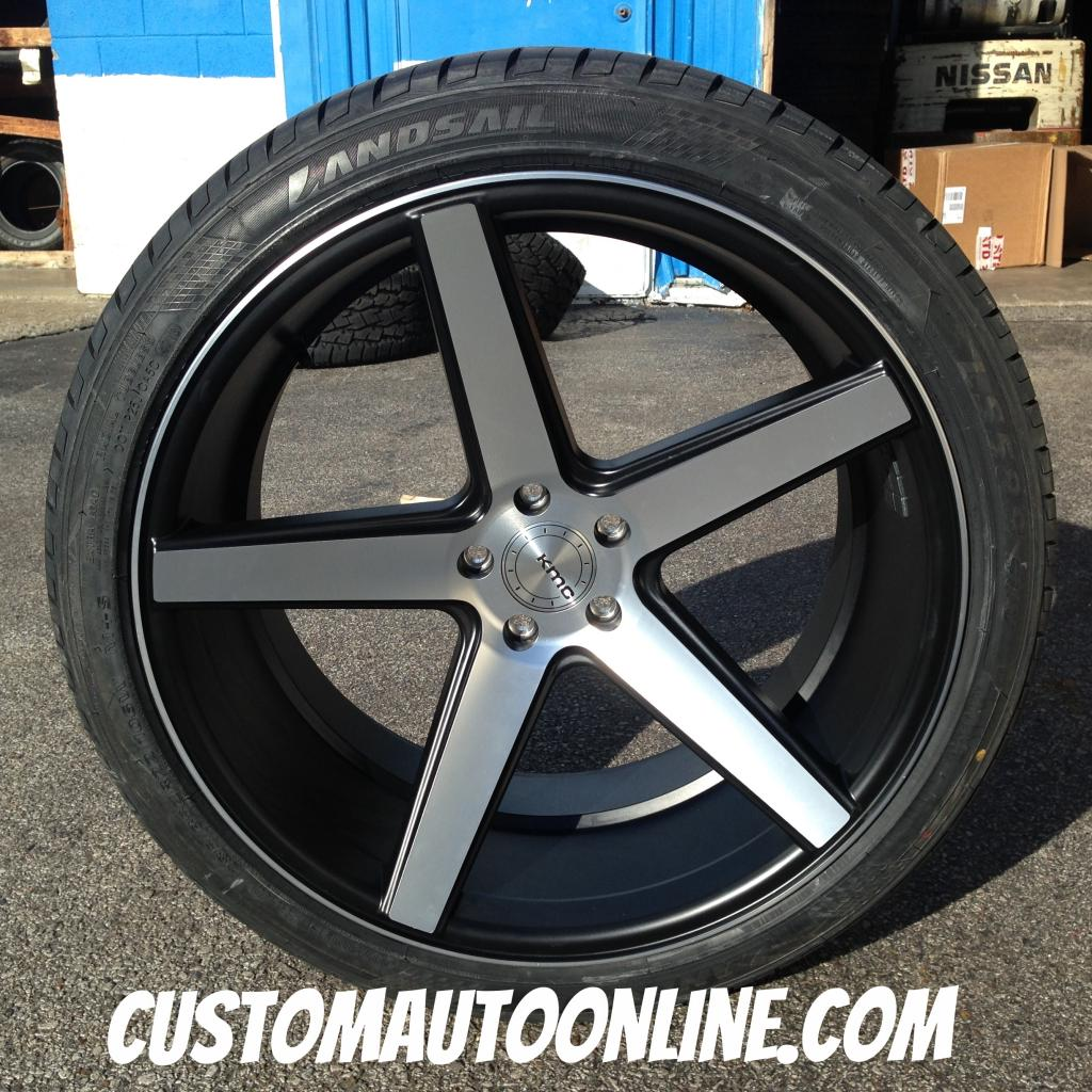 20x10.5 KMC District KM685 Black and Machined - 285/30r22 Landail tires