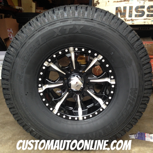 16x8 Helo Maxx HE791 Black and Milled - LT315/75r16 Wild Country XTX Sport