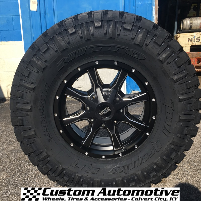 17x8 Moto Metal MO970 Black and Milled - 35x12.50r17LT Nitto Trail Grappler MT