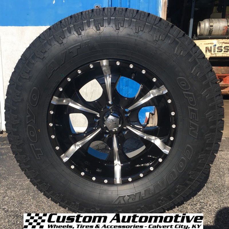 17x9 Helo Maxx HE791 Black and Milled - 285/70r17 Toyo Open Country AT2