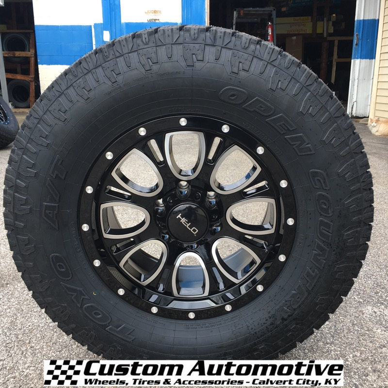17x9 Helo HE879 Black - 285/70r17 Toyo Open Country AT 2