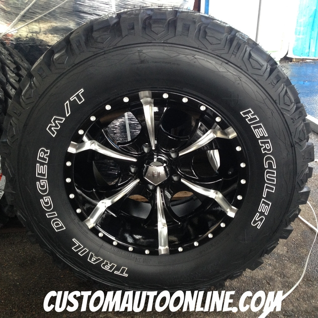 17x9 Helo Maxx HE791 Black and Milled - 33x12.50r17 Hercules Trail Digger MT