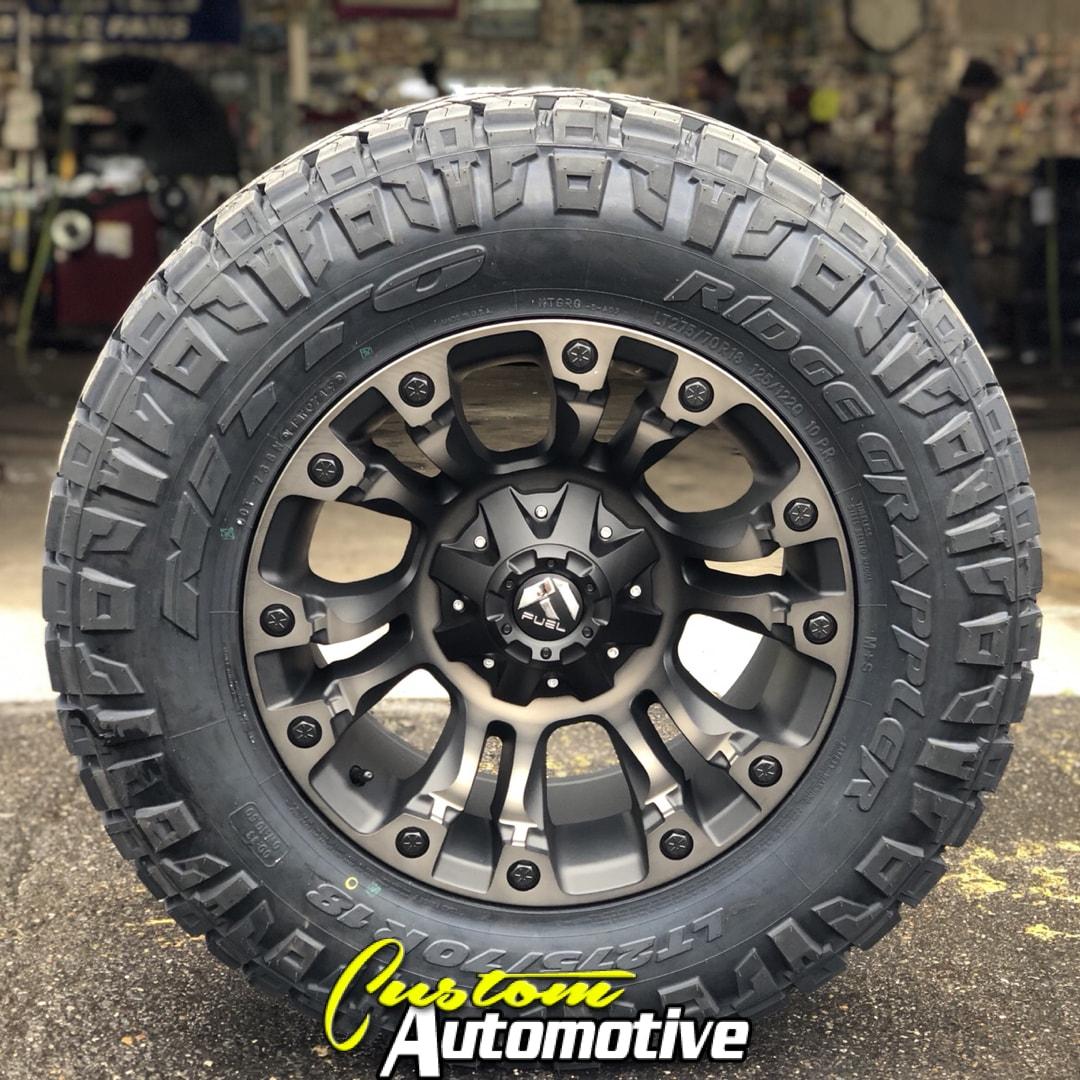 18x9 Fuel Vapor D569 Black with Dark Tint Machined - LT275/70r18 Nitto Ridge Grappler