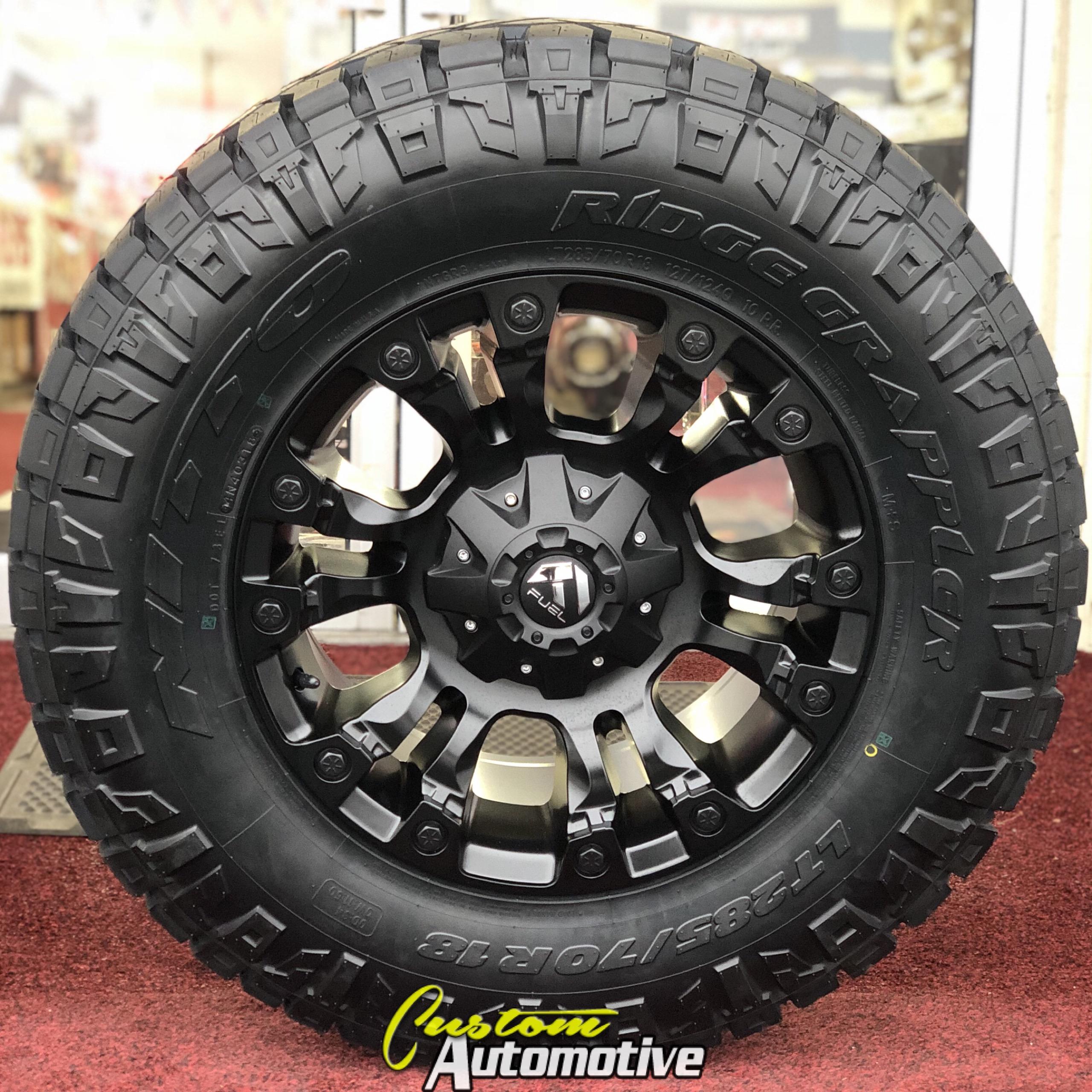 18x9 Fuel Vapor D560 Black - LT285/70r18 Nitto Ridge Grappler