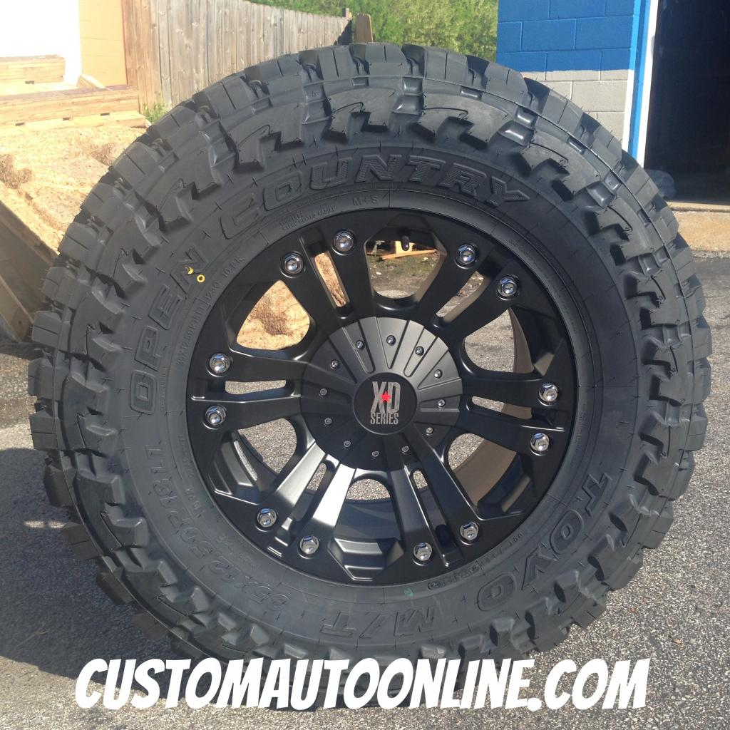 18x9 KMC XD Monster 778 Black - 35x12.50r18 Toyo Open Country MT