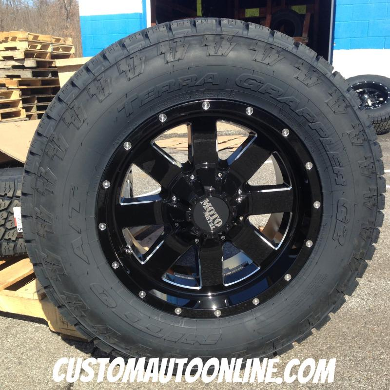 18x9 Moto Metal 962 Black - LT285/65r18 Nitto Terra Grappler G2