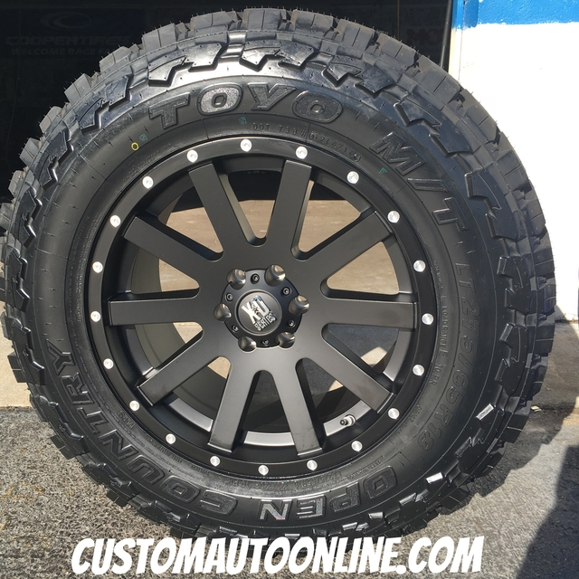 18x9 KMC XD Heist 818 Satin Black wheels with Milled Flange - LT275/65r18 Toyo Open Country MT tires