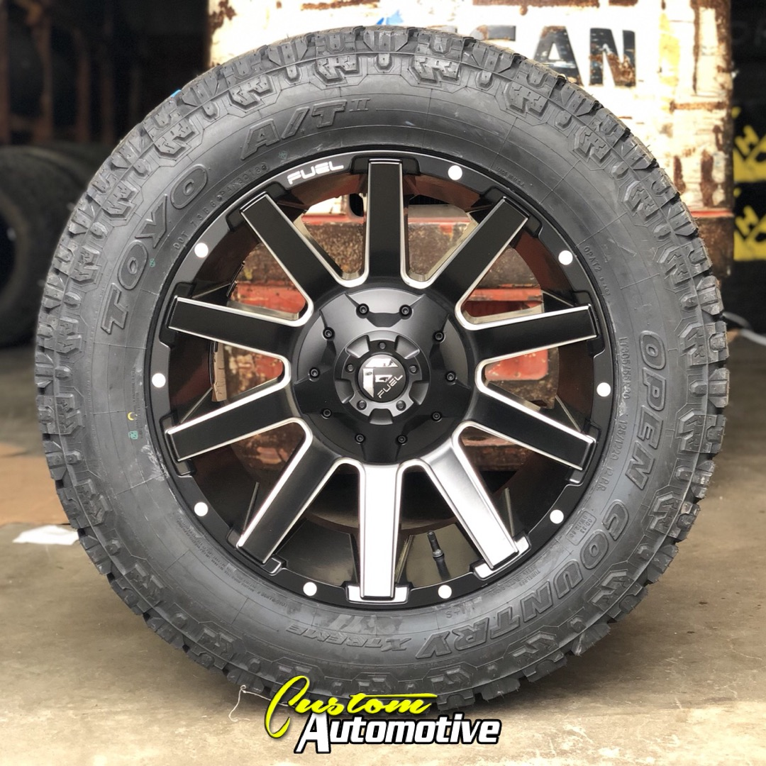 20x10 Fuel Offroad Contra D616 Matte Black and Milled - LT305/55r20 Toyo Open Country AT2 Extreme (12 ply)