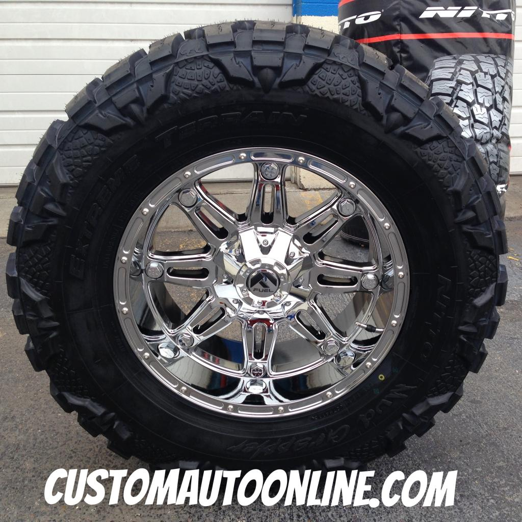 20x10 Fuel Hostage D530 Chrome - 37x13.50r20 Nitto Mud Grappler