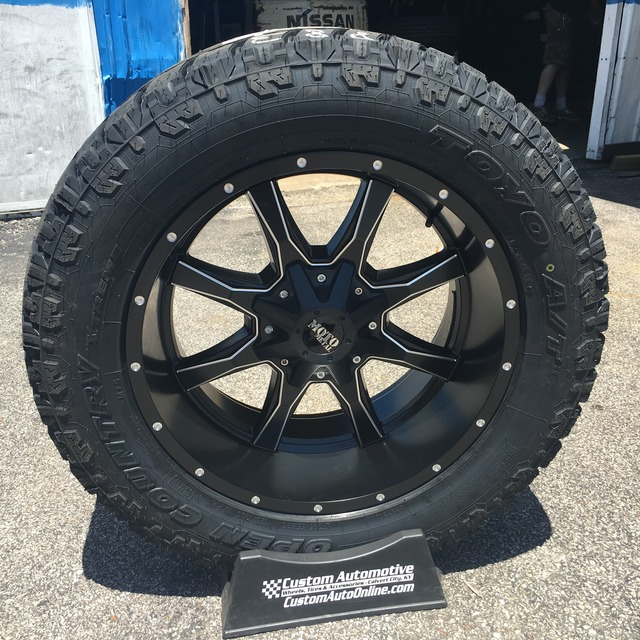 20x10 Moto Metal 970 Satin Black and Milled - LT295/55r20 Toyo Open Country ATII Extreme