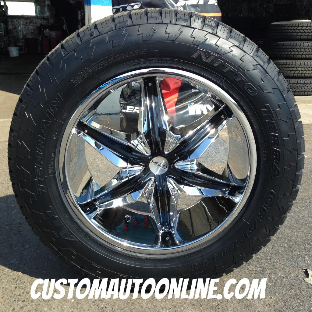 20x8.5 Helo He866 Chrome with black inserts - 275/60r20 Nitto Terra Grappler