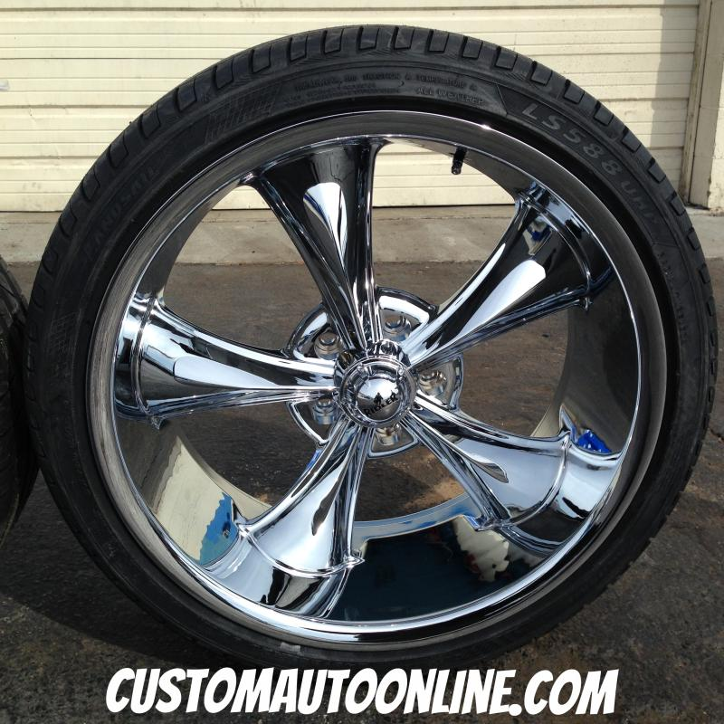 18x8 and 20x8.5 Ridler 695 Chrome staggered set with 245/35r18 and 245/35r20 Nankang NS-25