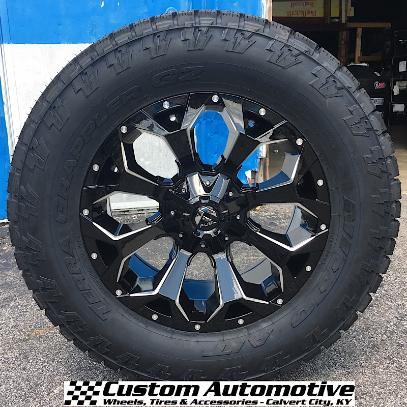 20x9 Fuel Assault D576 Gloss Black and Milled - 35x12.50r20 Nitto Terra Grappler G2