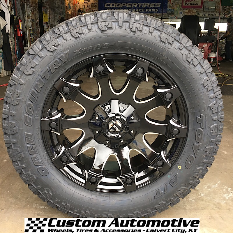 20x9 Fuel Battle Axe D578 Black and Milled - LT305/55r20 Toyo Open Country AT2 Extreme