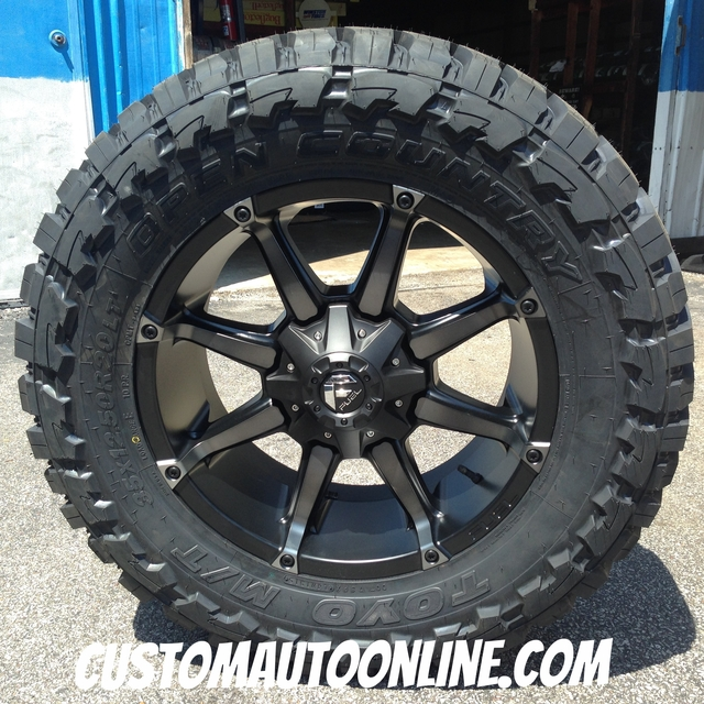20x9 Fuel Coupler D556 Black with Dark Tint - 35x12.50r20 Toyo Open Country MT