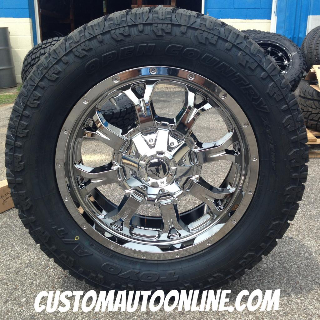 20x9 Fuel Offroad Krank D527 PVD Chrome - LT295/55r20 Toyo Open Country AT2