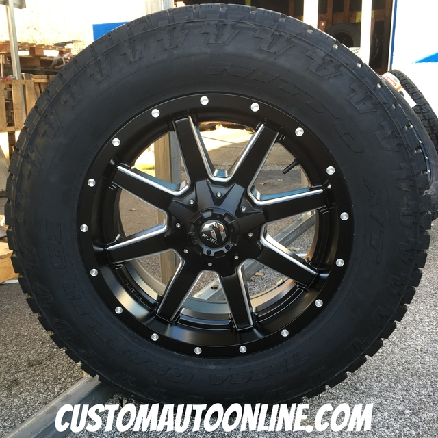 20x9 Fuel Maverick D538 Black and Milled - LT285/65r20 Nitto Terra Grappler G2
