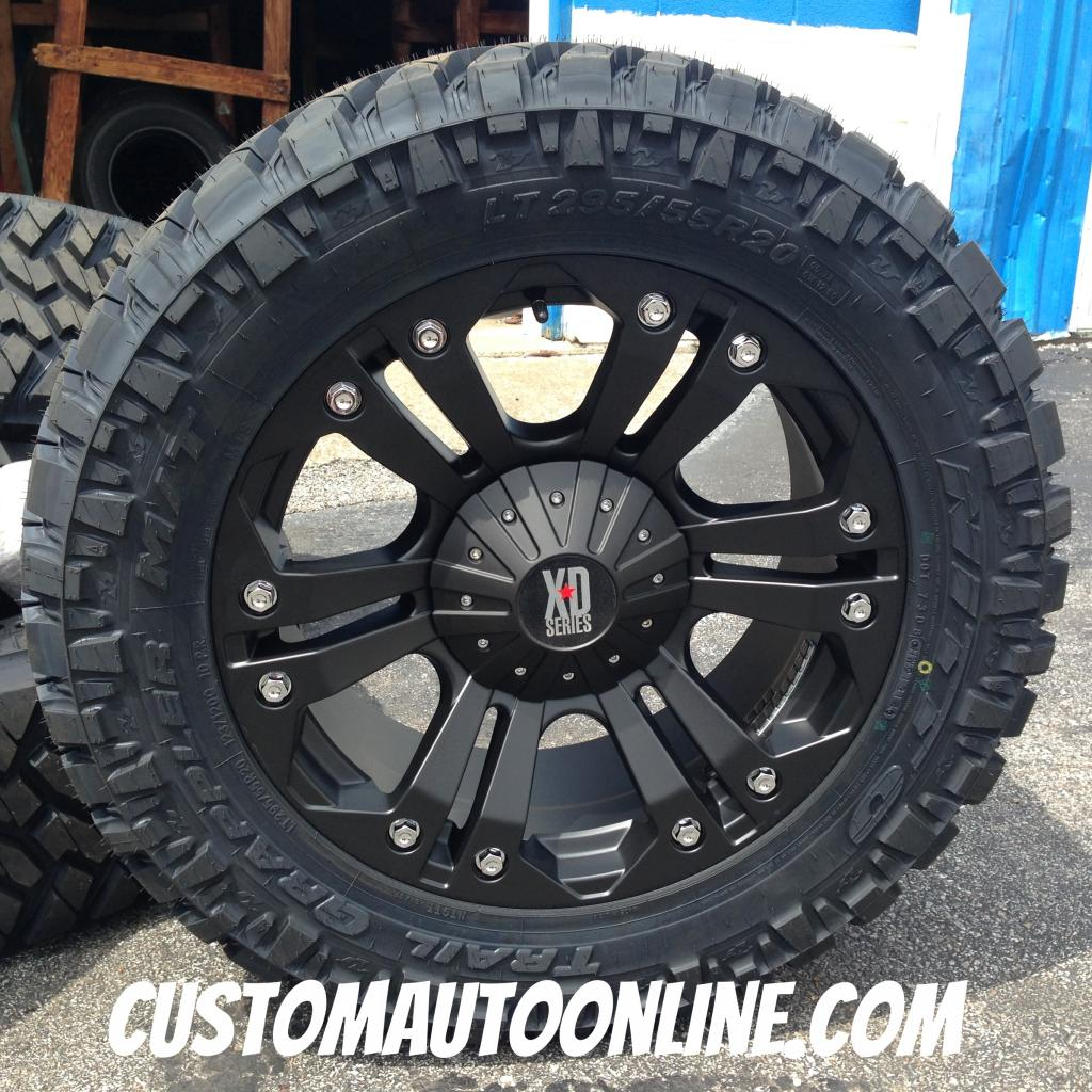 20x9 KMC XD Monster 778 Black - LT295/55r20 Nitto Trail Grappler