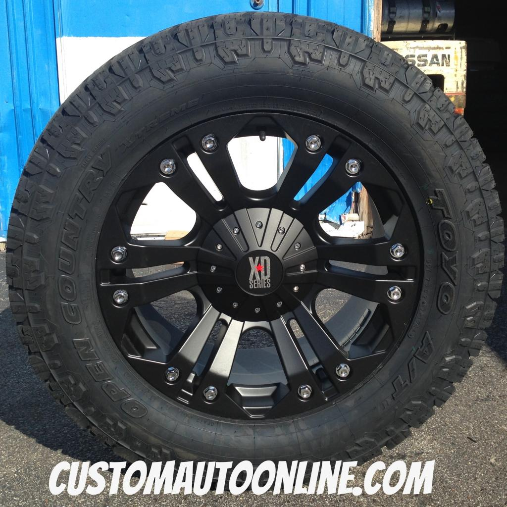 20x9 KMC XD Monster 778 Black - LT295/60r20 Toyo Open Country AT II Extreme