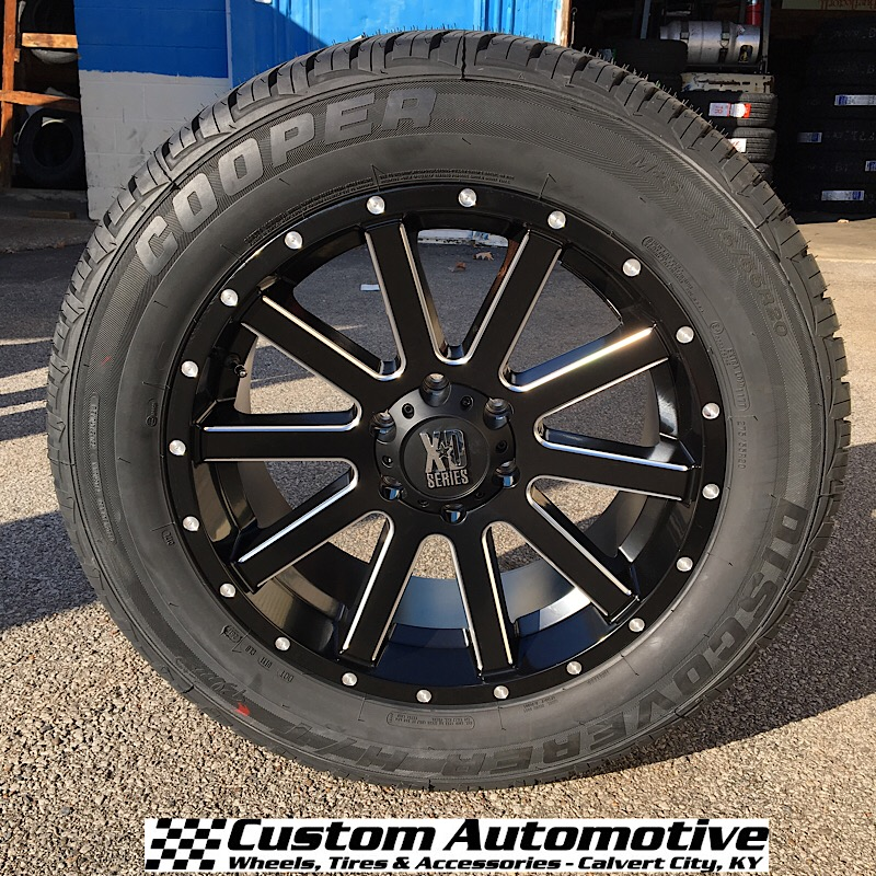 20x9 KMC XD Heist 818 Black and Milled - 275/55r20 Cooper Discoverer H/T Plus