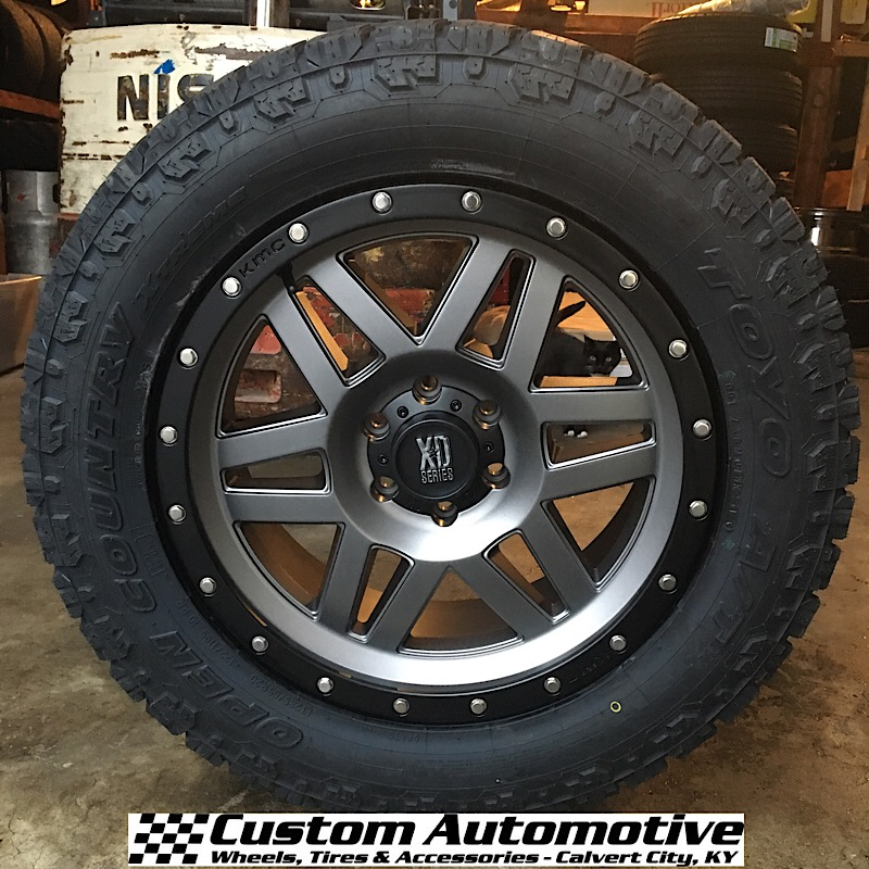 20x9 XD Machete XD128 Matte Gray with Black Beadlock - LT285/55r20 Toyo Open Country At2 Extreme