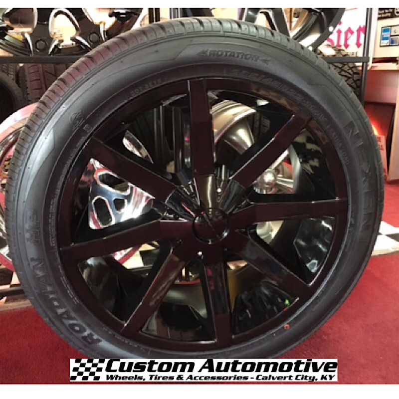 22x9.5 KMC Slide KM651 Black - 285/45r22 Nexen Roadian HP