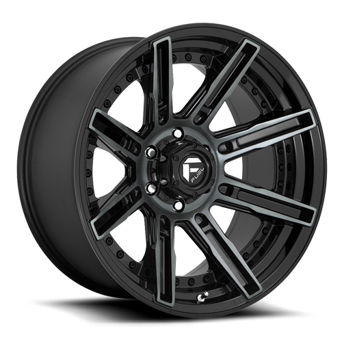 Fuel Rogue D708 - Gloss Black with Dark Tint Machined