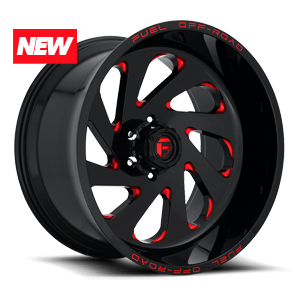 Fuel Vortex D638 - Gloss Black and Milled with Red Clearcoat