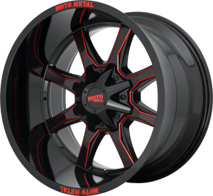 Moto Metal MO970 - Gloss Black and Red Milled