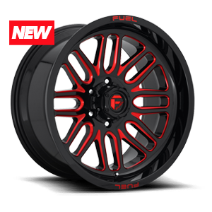 Fuel Ignite D663 - Gloss Black and Milled with Red Clearcoat