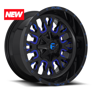 Fuel Stroke D645 - Gloss Black and Milled with Blue Clearcoat