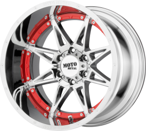 Moto Metal MO993 Hydra - Chrome with Red Accents