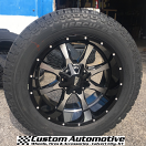20x10 Moto Metal MO970 Black and Machined - LT285/55r20 Hercules Terra Trac AT II