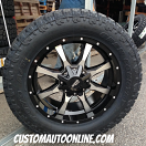 20x9 Moto Metal 970 Gloss Black and Machined - LT295/55r20 Toyo Open Country ATII Extreme