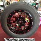 17x9 XD Grenade XD820 Black and Milled with Red Clear Coat - 255/60r17 Kumho KH16