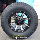 17x9 Moto Metal MO970 Gloss Black and Machined - 285/70r17 Nitto Ridge Grappler